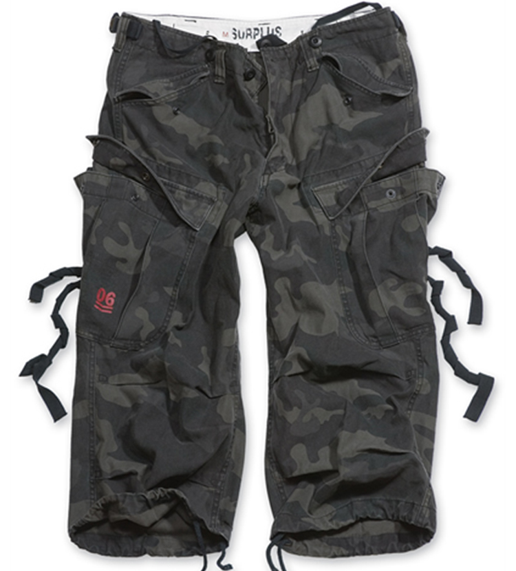 Kraťasy ENGINEER VINTAGE 3/4 BLACK CAMO